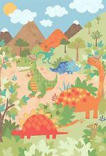 Bambini Dinosauri Beige Verde Blu Arancione 2.32m M x 1.58m Decorazione da