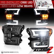 "[CREE LED Low Beam] Smoke ""FiBeR OpTiC DRL"" Headlights For 15-17 Ford F150 F-150"