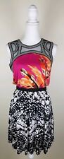 T Bags Los Angeles Women's Large Beaded Dress Pink Black Orange Sleeveless