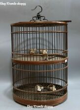 "19"" Pure Hand China Wood Double layer Birdcage Bird Coop Basket Hutch Statue"