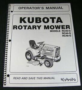 Kubota Rotary Mower RC40G RC44G RC48G Tractor Operators Maintenance Parts Manual