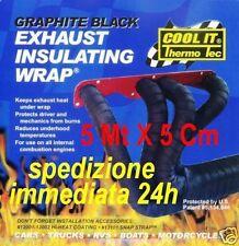 BENDE SCARICHI NERE NASTRO TERMICO COLLETTORI - FASCE HARLEY 5 MT X 5 CM FASCE