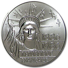1986 100 Francs Statue of Liberty silver .8682 oz 5000 minted