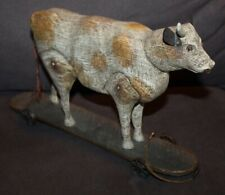 Reproduction Antique AMERICAN CHESTNUT FOLK ART Cow Pull Toy PRIMITIVE DECOR