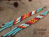 Native American Style Earrings  Turquoise Beaded Earrings ~Long Seed Bead