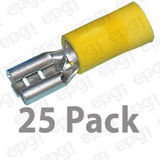 "FEMALE QUICK DISCONNECT TERMINAL VINYL .250"" YELLOW 10-12 GAUGE #102-25PK"