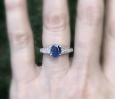 Natural Blue Sapphire Diamond Ring 2.79ct 18k White Gold