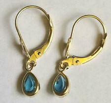 WOW 14k Yellow Gold 5 x 3mm Pear Shape Blue Topaz Dangle Lever Back Earrings 1g
