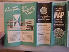 Rare 1955 Trolley Subway Bus Chicago Surface Lines Map Brochure Timetable