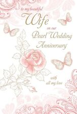 PEARL WEDDING ANNIVERSARY WIFE CARD 30 YEARS GOOD QUALITY BEAUTIFUL VERSE