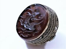 Antique Sassanian Persian Carnelian  & Turquoise Silver Ring