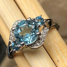 Natural 2ct London Blue Topaz 925 Solid Sterling Silver Engagement Ring sz 8