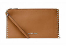 MICHAEL KORS ASTOR STUDDED LARGE LEATHER ZIP CLUTCH / ACORN