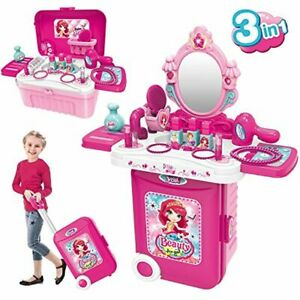 Kids Dressing Play Set 3 in 1 Girls Makeup Toy Hair Dryer Mirror with Light Fun