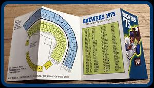 1975 MILWAUKEE BREWERS SCHLITZ BEER BASEBALL POCKET SCHEDULE FREE SHIPPING