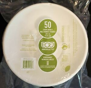 Eco Products Coupe Bowls - 1 Package of 50 - Compostable - 24 oz