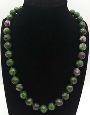 10mm Faceted Green Ruby Zoisite Round Beads Gemstone Necklace 18'' Natural