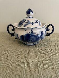 Porcelain Blue/white Floral Sugar Bowl  Made in Russia EUC