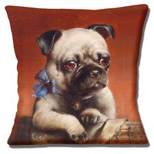 Pug Dog Cushion Cover 16 inch 40cm Fawn dog Blue Bow Carl Reichert Artwork Paint