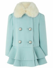 Monsoon Children's Blue Blossom Ruffle Winter Fur Neck Coat Jacket 1 to 13 YRS