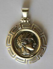 GODDESS ATHENA GREEK COIN NORMAL SIZE PENDANT SOLID STERLING SILVER COD 15
