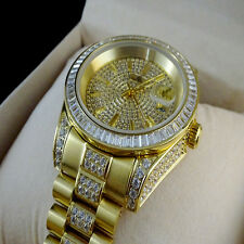 MEN'S ICED OUT STAINLESSTEEL YELLOW GOLD FINISH LAB DIAMOND SIMULATE WRIST WATCH
