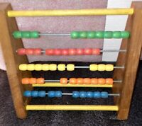 Vintage Toy Teaching Abacus School Multi Color Counting Wood gift xmas Nice Cond