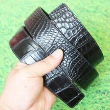 Replacement Belt No Buckle Crocodile Leather No Jointed Black, W4.0, 115cm