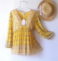 New~Sunshine Yellow Border Print Peasant Blouse Ruffle Boho Top~Size Medium M