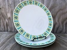 Bombay Green Ben Seibel Iroquois Large Dinner Plates Set Of 3 Made In U.S.A.