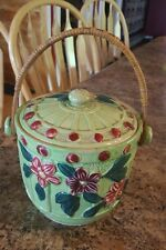 ANTIQUE ♡  HAND PAINTED BISCUIT JAR WITH WICKER HANDLE ♡ MARKED MADE IN JAPAN