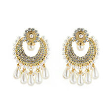 Dangle Drop Earrings for Women Pearl Crystal Golden Wedding Fashion Jewelry Gift