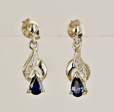 NATURAL SAPPHIRE DIAMOND EARRINGS PETITE 9K 375 WHITE GOLD DROPS GIFT BOXED NEW