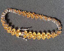 Vintage Gold Yellow Citrine 925 Sterling Silver Bracelet w/ 87 Citrine Gemstones
