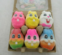 Mushimoto Bunny Eggie Soft Velvet Texture Squishy 6 Eggs Colorful Stress Relief