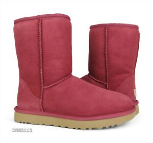 UGG Classic Short II Timeless Red Suede Fur Boots Womens Size 6 *NIB*