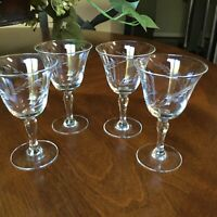 """Four (4) Vintage Floral Etched Quality Crystal Aperitif Cordials 4 3/8"""""""