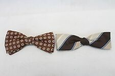 2 Vintage Bow Tie Lot Collection Retro Hipster Royal Clip Brown Tan Red Old