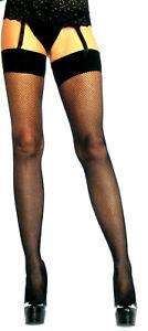 Women Fishnet Stockings Spandex Band Top One Size Reg Black Leg Avenue 9106