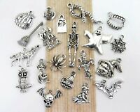 BOO! 20 Different HALLOWEEN Charms, Antique Silver Mixed Charm Collection Lot