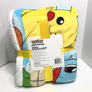 Nintendo Pokemon Super Soft Sherpa Blanket Blue 60 in x 90 in 152cm x 229cm NEW