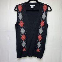 Cabi Women's Charcoal Gray Argyle V Neck Lambs Wool Sweater Vest #732 MEDIUM