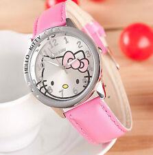 Kids Girls Hello Kitty Light Pink Wrist Watch Analog Leather Strap Steel Back B