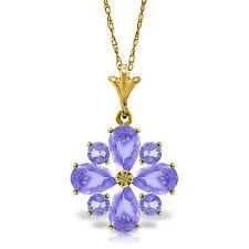 Genuine Not Enhanced Tanzanite Purple Gemstone Pendant 14K Solid Gold Necklace