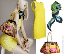 NWOT! VERSACE X H&M HM AMAZING YELLOW STUDDED EMBELLISHED SILK DRESS.SMALL 6/ 36