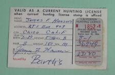 1966 California Dept of Fish & Game Resident Deer Hunting License w/ Stamp
