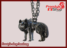 ~♥~Wolf Werwolf Hund Rudel Fantasy Vintage Halskette Kette Anhänger Silber~♥~
