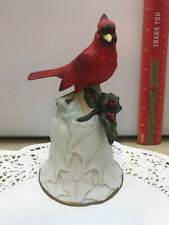 Red Cardinal Bird Avon Bell Collectible 2000 Bone China 6 inch Christmas Holly