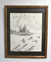 GREENE FEATHER Black/White Lithograph Art Framed Matted Signed 116/200 Ltd Ed N1
