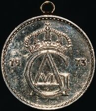 More details for 1973   sweden gustaf vi adolf 50 ore 'coin pendant'   gold plated   km coins